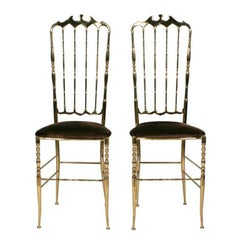 Pair of Brass High Back Side Chairs by Chiavari