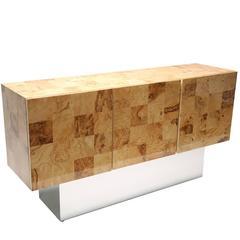 Milo Baughman Style Light Burl Check Sideboard