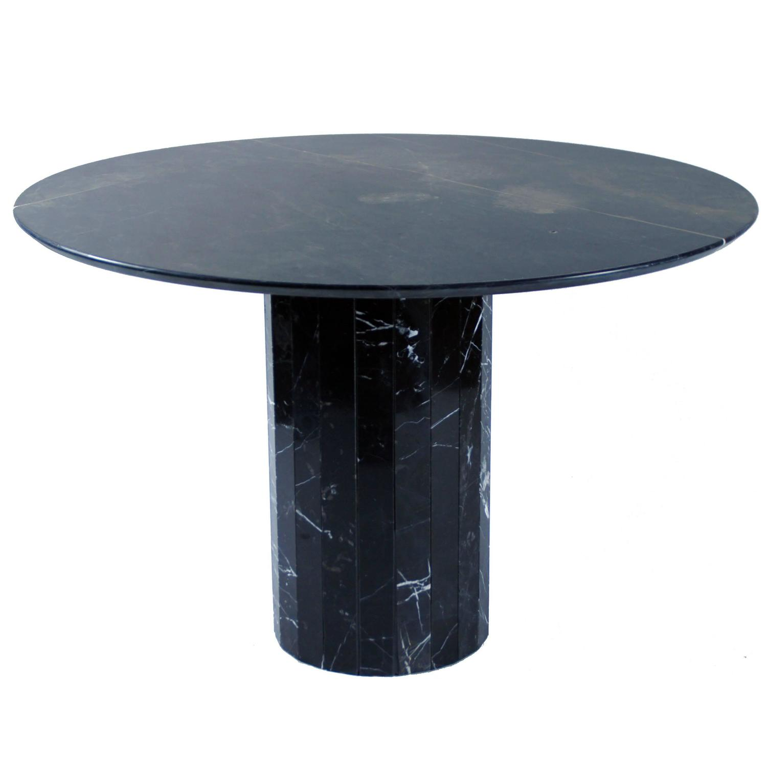 Italian Dining Round Table In Black Marble Circa 1970 At 1stdibs