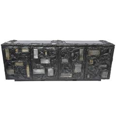 Paul Evans Bronzed Resin and Steel Cabinet