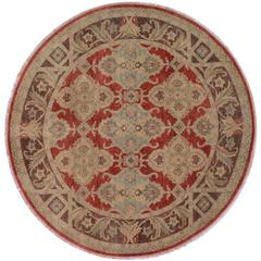 Round Red Traditional Rug
