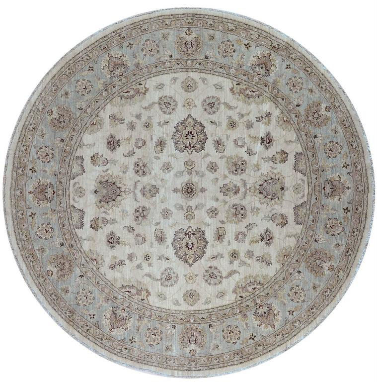 Round Ivory And Blue Floral Pattern Rug At 1stdibs