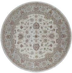 Round Ivory and Blue Floral Pattern Rug