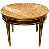 French Louis XVI Style Round Marble-Top Center Table
