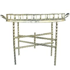 Brass Bamboo Chinoiserie Tray Table