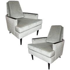 Pair of Mid-Century Armchairs in Smoked Platinum Velvet and Ebonized Walnut