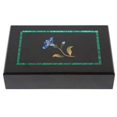 Onyx Pietra Dura Floral Hinged Box