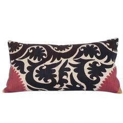 Mid-20th Century Vintage Uzbek Samarkand Suzani Pillow