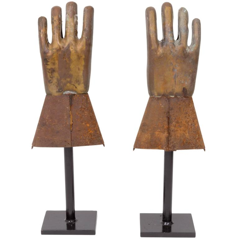 Pair of Industrial Metal Glove Hand Molds For Sale