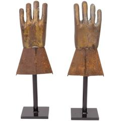 Pair of Industrial Metal Glove Hand Molds