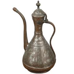 Middle Eastern Persian Tinned Copper Ewer