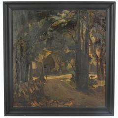 Large Black Framed Oil Landscape