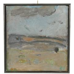 Vintage Silver Framed Abstract Oil on Canvas