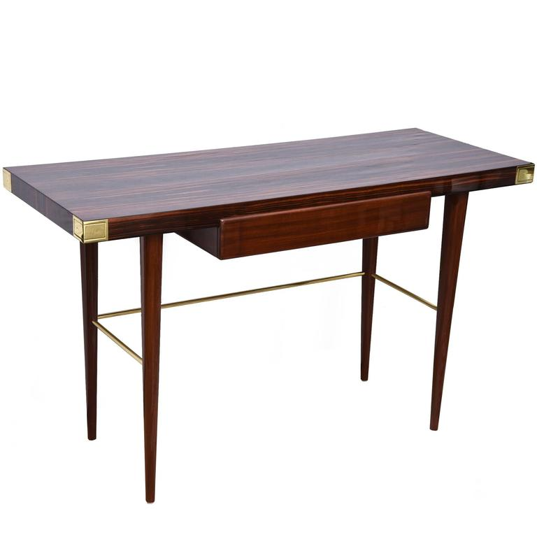 Modernist Walter Charak Macassar Ebony Gany And Brass Desk For