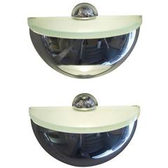 Pair of Rounded Chrome Sconces by Fontana Arte