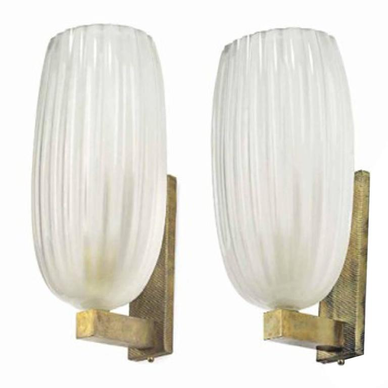 Pair of Vintage Frosted Glass and Brass-Mounted Single Light Wall Sconce