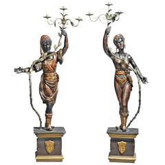 Pair of Baroque Style Wooden Blackamoor Figures as Candelabra