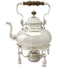 Sterling Silver Spirit Kettle - Queen Anne Style, Antique George V