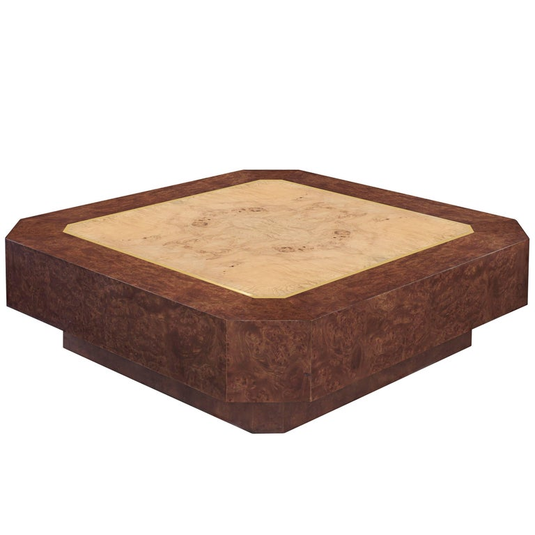 DiGerlando Coffee Table in Ash Burl with Brass Inlays by Karl Springer For Sale
