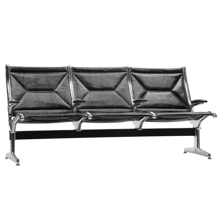 Eames for Herman Miller Tandem Sling Bench in Black Edelman Leather