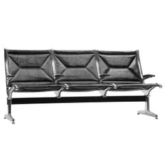 Eames for Herman Miller Tandem Sling Bench in Black Edelman Leather