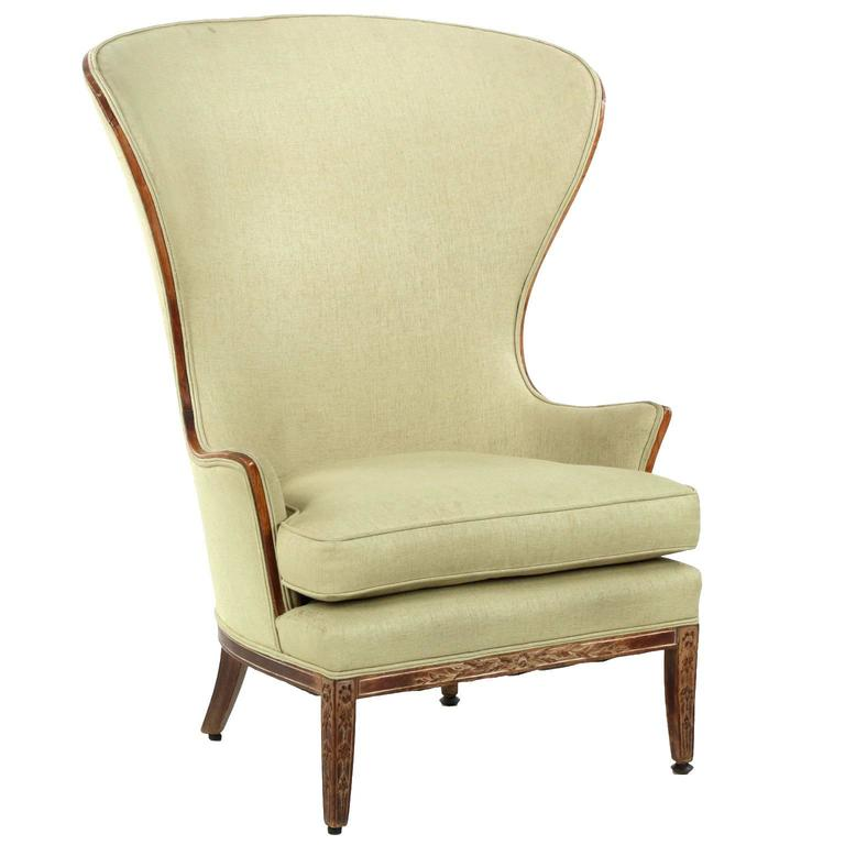 French Provincial Carved Beechwood Antique Wingback Armchair, 19th Century  For Sale
