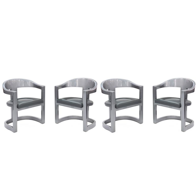 Set of Four Onassis Chairs in Metallic Gray Lacquer by Karl Springer