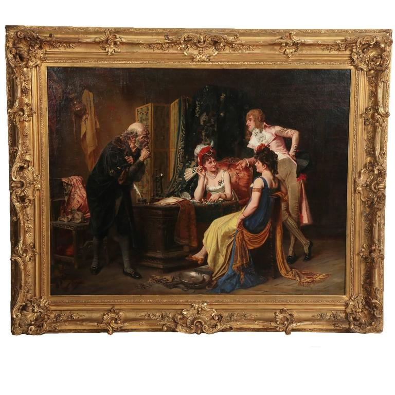 "Victor-Henri Juglar Oil on Canvas ""Incroyable and Marveilleuses"" For Sale"