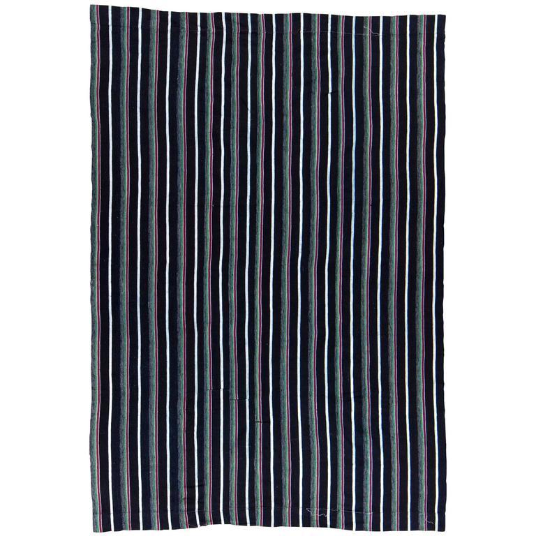 Vintage Indigo Blue Stripe African Cotton Blanket Wrap For Sale