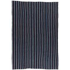 Vintage Indigo Blue Stripe African Cotton Blanket Wrap