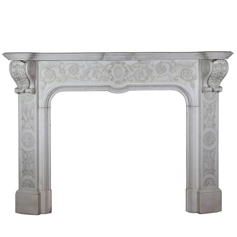 Rare 19th Century Italian White Marble Original Antique Fireplace Mantle