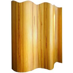 French Wood Tambour Divider  Screen,  1960s Modernist Undulating Design