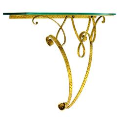 Wall Console by Pier Luigi Colli, Brass and Glass, Italy, 1950s
