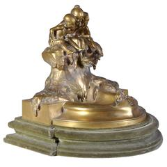 """Youth Fountain"", Gilt Bronze Coin Tray by Max Blondat"