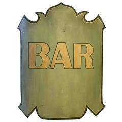 French Hand-Painted Bar Sign
