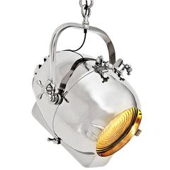 Hanging Lamp Fresnel Suspension in Polished Nickel with Fresnel Lens