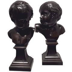 Pair of French 19th Century Bronze Busts after Francois Duquesnoy