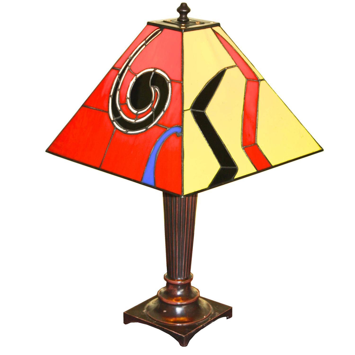 calder esque 39 sky swirl 39 stained glass lamp for sale at 1stdibs. Black Bedroom Furniture Sets. Home Design Ideas