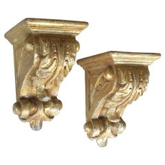 Well-Carved Pair of American Classical Revival Giltwood Corbels