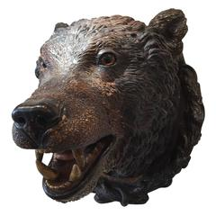 Late 19th Century Painted Bear's Head