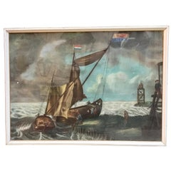Large 19th Century Dutch Nautical Napoleonic Pastel Drawing on Paper