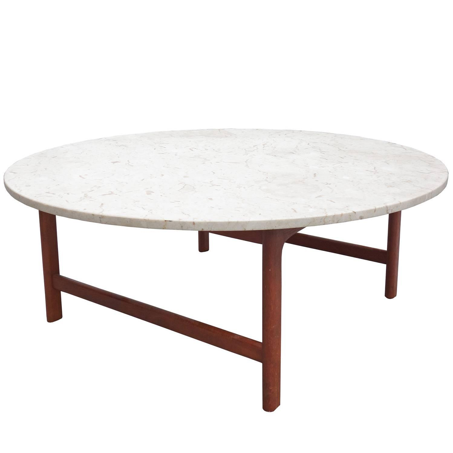 Dux Coffee Table With Travertine Top At 1stdibs