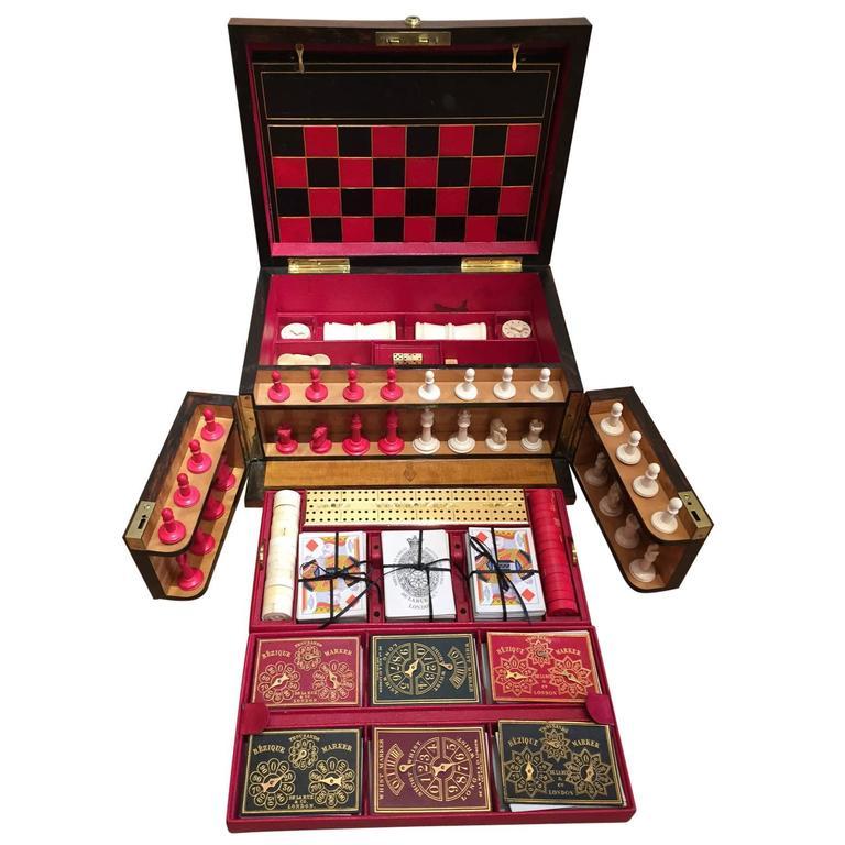 English Victorian Antique Games Compendium Box