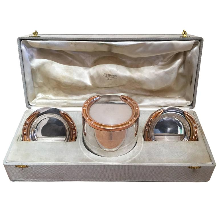 Rare 1930s Hermes Silver and Silver Gilt Smoker's Set For Sale