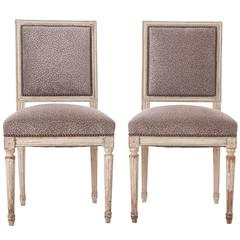 Pair of French 19th Century Painted Louis XVI Side Chairs