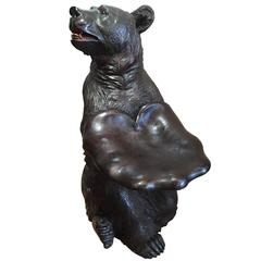 Early 20th Century Swiss Black Forest Bear Seat