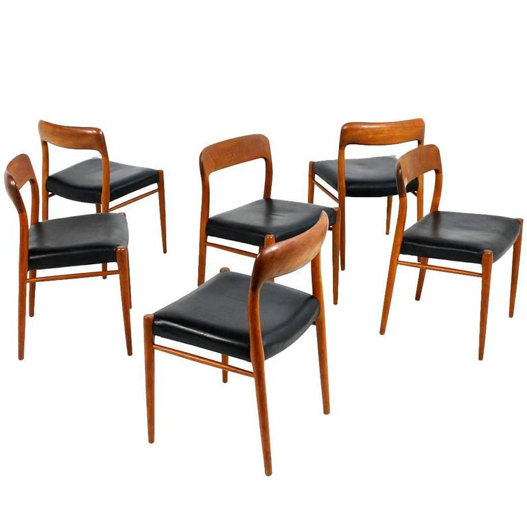 Set Of Six Danish Modern Niels Moller Mod 75 Dining Chairs Teak And Leather