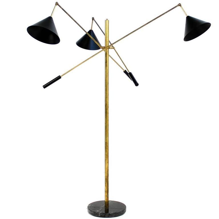 Exclusive Adjustable Italian Triennale Floor Lamp Brass & Marble Stilnovo Style