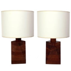 Sculptural Stacked Walnut Lamps by Gordon and Jane Martz