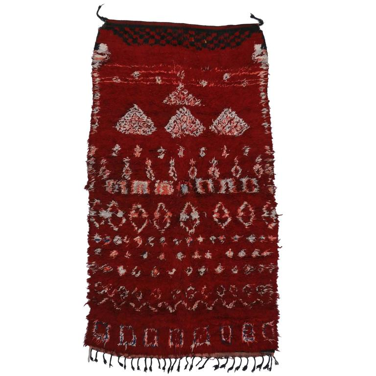 Mid Century Modern Style Red Berber Moroccan Rug With: Mid-Century Modern Style Berber Moroccan Rug With Diamonds